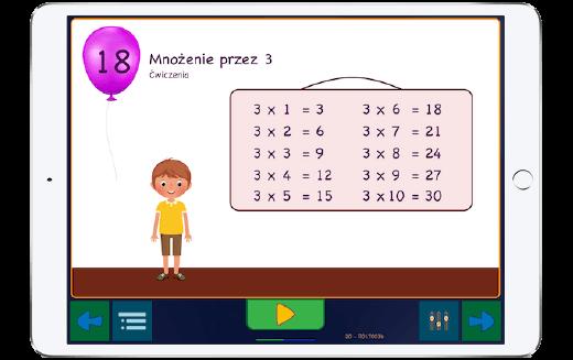 Nauka mnożenia - tabliczka mnożenia w 5 częściach z 40 ćwiczeniami w każdej z nich.